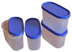 Tupperware Modular Mates Oval Plastic Container Set, 1.1 Litres, 4-Pieces, Multicolor