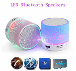 Wireless Mini LED Lights Bluetooth Speaker With FM Radio Microphone MicroSD Slot