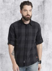 Dark Grey Checked Regular Fit Casual Shirt