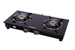 Suryajwala Stainless Steel 2 Burner Gas Stove, Black (sj2burner-CI-ROY)