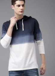 Navy Blue Washed Hooded T Shirt