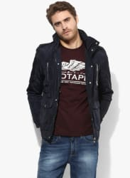 Navy Blue Solid Casual Jacket