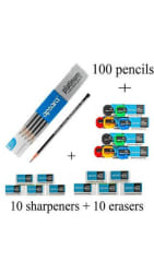 Apsara Platinum Extra Dark Pencil(Pack Of 120 Pencil+12 Eraser+12 Sharpner)