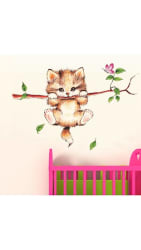 WallTola Little Catty On Branch Wall Sticker