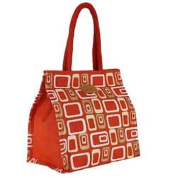 Ecotara Golden Glaze Designer Jute Lunch Bag-Orange