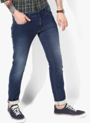 Blue Solid Low Rise Skinny Fit Jeans (Sax Zip)