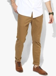 Khaki Solid Regular Fit Chinos