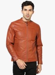 Tan Solid Biker Jacket