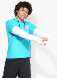 Aqua Blue Solid Hooded T-Shirt