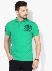 Green Embroidered Regular Fit Polo T-Shirt