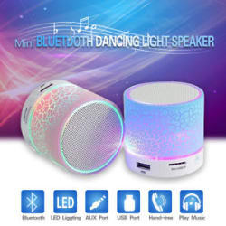 Wireless Mini LED Lights Bluetooth Speaker With FMRadio Microphone MicroSD Slot