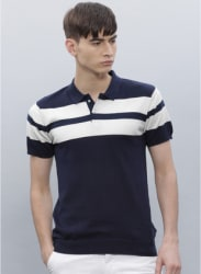 Navy Blue & White Solid Polo Collar T-shirt
