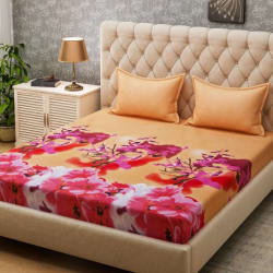 Bombay Dyeing 160 TC Microfiber Double Floral Bedsheet (2 Pillow covers, Pink)
