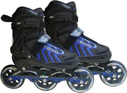 Jaspo RADAR BLUE ADJSUTABLE INLINE SKATES WITH 100MM PU WHEEL FOR 9 TO 12 YEARS In-line Skates - Size 3-5 UK (Blue)