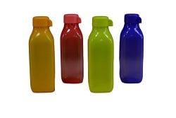 Tupperware Aqua Safe Square Frosty Plastic Water Bottle Set, 500ml, Set of 4, Multicolour