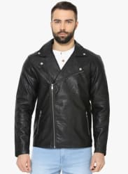 Black Solid Biker Jacket