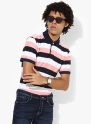 Pink Striped Regular Fit Polo T-Shirt