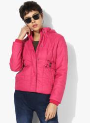 Pink Solid Winter Jacket