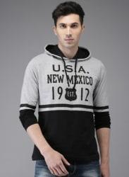 Grey Melange Printed Hooded T Shirt