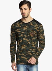 Khaki Printed Round Neck T-Shirt