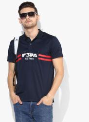 Navy Blue Printed Polo Collar T-Shirt