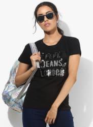 Black Embellished T Shirt