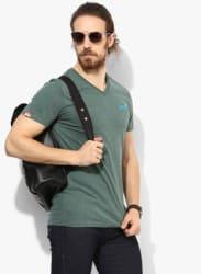 Green Textured Slim Fit V Neck T-Shirt