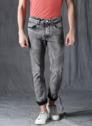 Grey Washed Mid Rise Slim Fit Jeans