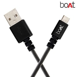 boAt Micro USB 500 Indestructible Nylon Braided Micro USB to USB Tangle Free Cable, 1.5 Meter (5 Feet) - Black