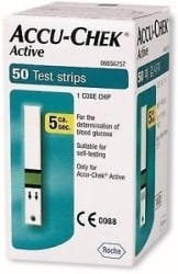Accu-Chek 50 Test Strips for Active Glucometer with 1 Code Chip Expiry-01/2019