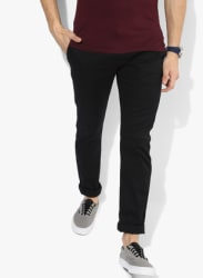 Black Solid Skinny Fit Chinos