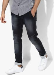Navy Blue Washed Skinny Fit Jeans