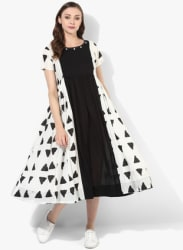 Round Neck Printed Flared Skater Dress With Short Sleeves And Tassel Detail