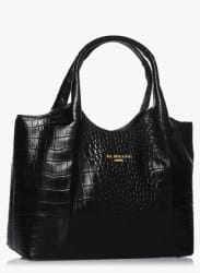 Black Croc Leather Handbag