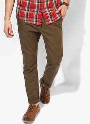 Olive Solid Regular Fit Chinos