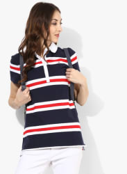 Navy Blue Striped T Shirt