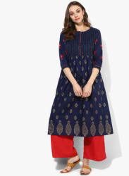 Round Neck 3/4Th Sleeves A Line Kurta