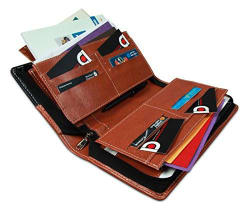 COI Expendable Leatherette Multiple Cheque Book Holder/Document Holder (Black And Brown)