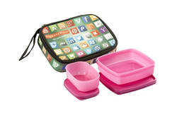Signoraware Network Twin Smart Plastic Lunch Box Set, 2-Pieces, Pink