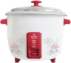 Maxstar RC01 Multichef Electric Rice Cooker with Steaming Feature 1.8 L, White and Red