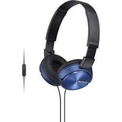 SONY MDR-ZX310AP ON EAR HEADPHONES WITH MIC (REFURBISHED) (BLUE)