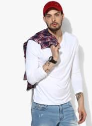 White Solid Regular Fit V Neck T-Shirt