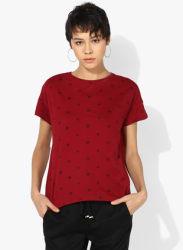Maroon Printed T Shirt