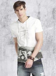 Men White Printed Hooded T-shirt