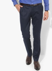 Navy Blue Textured Slim Fit Formal Trouser
