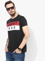 Black Printed Regular Fit Round Neck T-Shirt