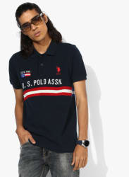 Navy Blue Embroiderd Regular Fit Polo T-Shirt