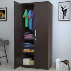 Perfect Homes by Flipkart Engineered Wood 2 Door Wardrobe (Finish Color - Wenge)
