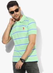 Green Striped Regular Fit Polo T-Shirt