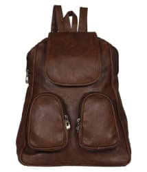 View Bags Brown P U Leather Women Backpack College Bags Beautiful Two Pocket Bag